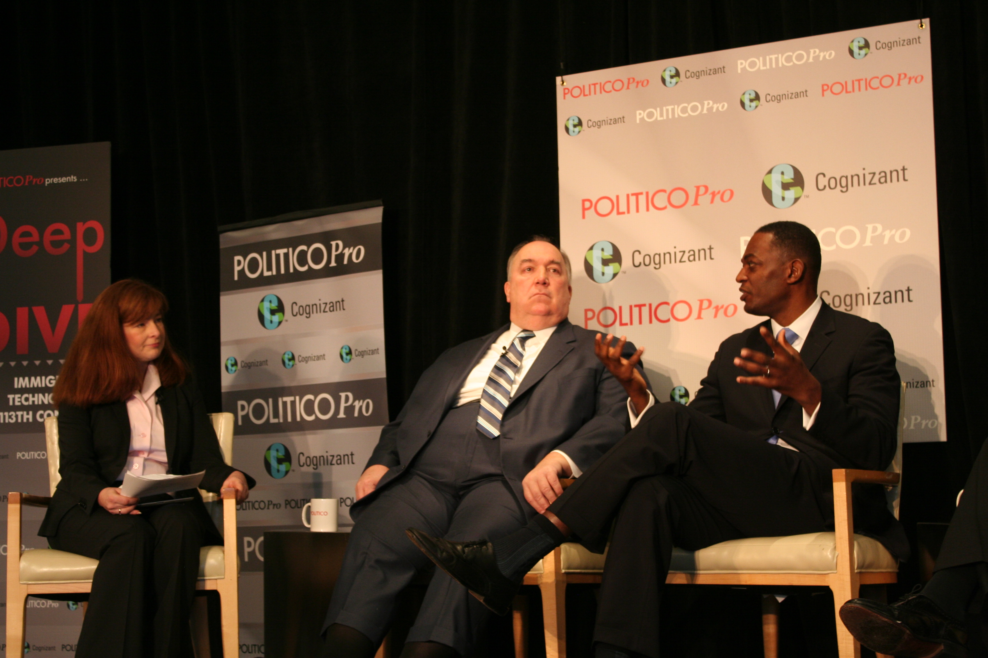 ITI's Dean Garfield (right) speaks at the Cognizant-Politico Pro event on immigration reform.