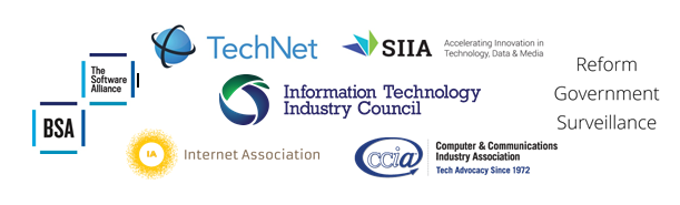 Logos of Tech Industry Coalition Groups calling on the U.S. House of Representatives to pass surveillance reforms